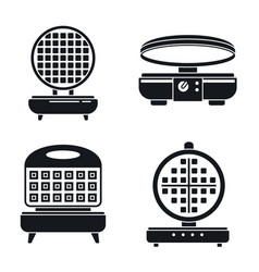 Belgian waffle-iron icon set simple style vector