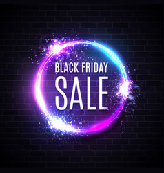 black friday sales in neon circle background vector image