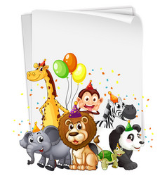Blank banner with wild animal in party theme vector