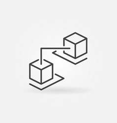 blockchain cubes line icon blockchain technology vector image