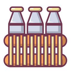 Bottles of milk icon cartoon style vector