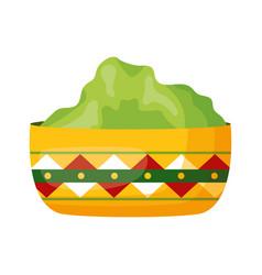 Bowl with guacamole vector