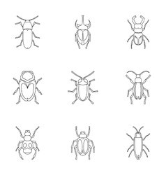 Bugs icons set outline style vector