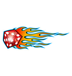 Burning dice with classic tribal flames vector