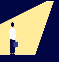 Business recruitment man in spotlight office vector