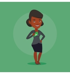 Business woman putting money bribe in pocket vector image