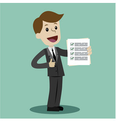 businessman is holding check list paper cartoon vector image