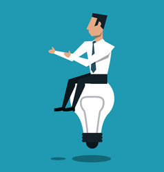 Businessman seated on bulb vector