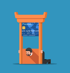 businessman stuck in credit card guillotine vector image