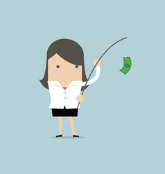 businesswoman with money on fishing rod vector image