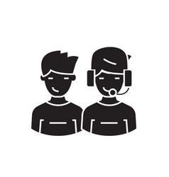 call center operators black concept icon vector image