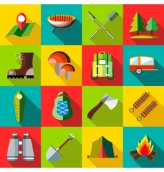 Camping icons set flat style vector image