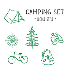 Camping set doodle style vector