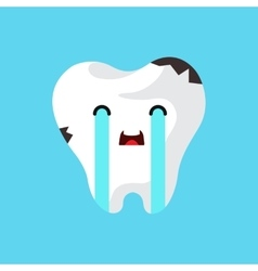 Cartoon sick tooth vector