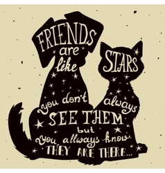 Cat and dog friends grungy card vector