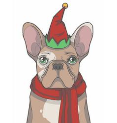 Christmas elf french bulldog vector