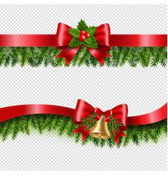 Christmas ribbon and fir tree transparent vector