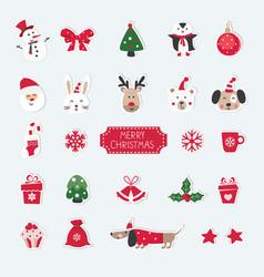 Christmas set cute animals santa snowman and vector