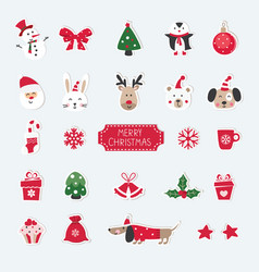Christmas set of cute animals santa snowman and vector
