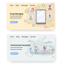 communication website landing page template vector image