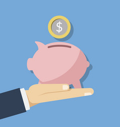 concept of saving money pink piggy vector image