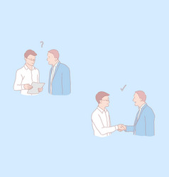 Cooperation stages question and agreement job vector