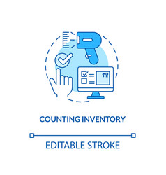 Counting inventory concept icon vector