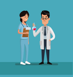 Couple people medical staff employee labor day vector