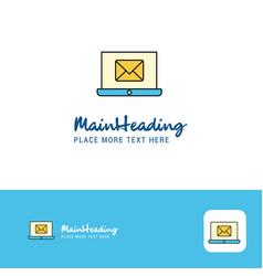 creative email on laptop logo design flat color vector image
