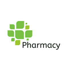 Cross leaf icon pharmacy logo template medical vector