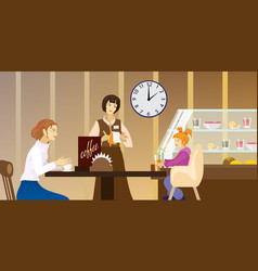 Detailed character people in the restaurant vector