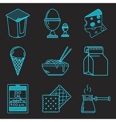 Diet menu blue line icons set vector image