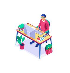 Distance student desk isometric vector