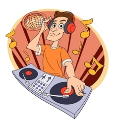 Dj playing music in club 2 vector image