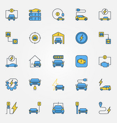 electric car creative icons vector image