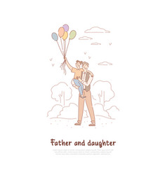 father day celebration dad and daughter with vector image