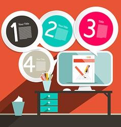 Flat Design UI Office Infographics Template - vector
