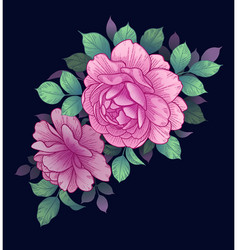 Floral arrangement with pink roses on dark vector