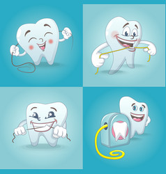 floss dental teeth icons set cartoon style vector image