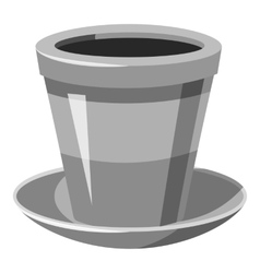 Flower pot icon gray monochrome style vector image