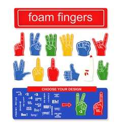 Foam finger set vector image