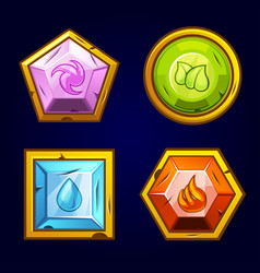 four elements icon old precious stones vector image