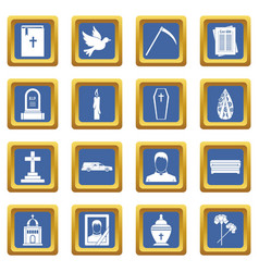Funeral icons set blue vector