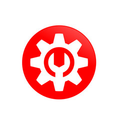 Gear mechanic red circular symbol icon design vector
