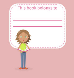 girl holds book and place for signing vector image