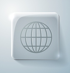 Glass square icon globe symbol vector image