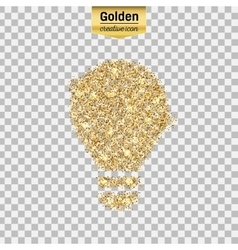 Gold glitter icon of bulb isolated on vector