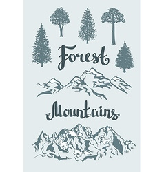 Hand drawn mountain landscape and isolated trees vector