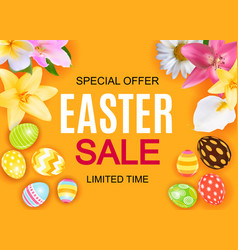 Happy easter cute sale poster background with egg vector