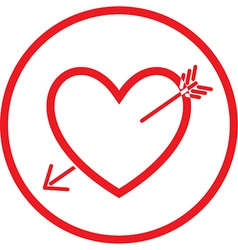 heart and arrow icon vector image